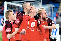 Fotball , 2. april 2018 , Eliteserien , Strømsgodset - Brann 1-1<br /> <br /> Kristoffer Barmen , Brann jubler for scoring sammen medblant annet Henrik Johansen og Azar Karadas og Taijo Teniste , Brann