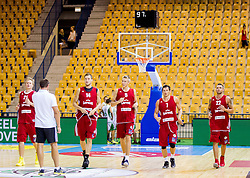 Players of Latvia at warming up during friendly match between National teams of Slovenia and Latvia for Eurobasket 2013 on August 2, 2013 in Arena Zlatorog, Celje, Slovenia. (Photo by Vid Ponikvar / Sportida.com)