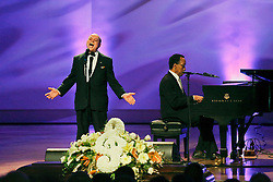 20 November 2015. Orpheum Theater, New Orleans, Louisiana. <br /> Memorial service for musician Allen Toussaint. <br /> Deacon John performs on stage.<br /> Photo; Charlie Varley/varleypix.com