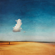 Abstract beach with a large cloud and a solitary man - manipulated photograph edited with texture overlays<br /> Fine wall art, home decor and more here: https://www.redbubble.com/shop/ap/78695671