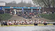 Putney, London, Varsity Boat Race, 07/04/2019, Embankment, Oxford V Cambridge, Men's Race, Women's Race, Championship Course,<br /> [Mandatory Credit: Patrick WHITE], Sunday,  07/04/2019,  2:16:12 pm,