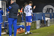 Bury Forward, Rob Harker (45) gets instruction from Bury Caretaker Manager, Ryan Lowe  during the EFL Trophy match between Bury and U23 Stoke City at the JD Stadium, Bury, England on 8 November 2017. Photo by Mark Pollitt.