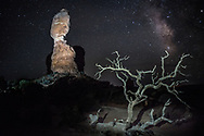 Balanced Rock in Utah, lit by torchlight, with a dead tree in the foreground and the Milky Way in the background. Picture by Andrew Tobin.