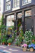 Traditional florist shop in the Nine Streets - De Negen Straatjes - 9 Streets district of Jordaan, Amsterdam