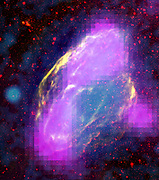 GeV-gamma-ray emission regions (magenta) in W44 supernova remnant. Features clearly align with filaments  in other wavelengths. Composite, merging  X-rays (blue) ROSAT mission, infrared (red) NASA. Science Astronomy
