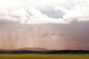 Rain storm over distant islands, Lake Trasimeno, Italy
