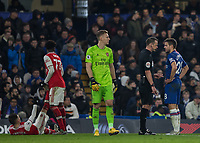 Football - 2019 / 2020 Premier League - Chelsea vs. Arsenal<br /> <br /> Cesar Azpilicueta (Chelsea FC) talks to referee Stuart Attwell about the time wasting tactics at Stamford Bridge <br /> <br /> COLORSPORT/DANIEL BEARHAM