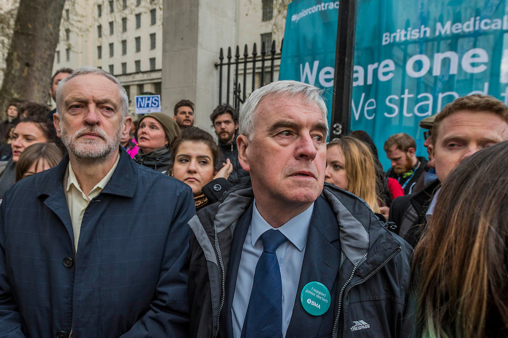 Jeremy Corbyn and John McDonnell join the march - Doctors leave the picket line at St Thomas' Hospital to march to the DoH in Whitehall. Junior Doctors stage a 7 day all out strike action, this time imncluding accident and emergency coverage. They are striking against the new contracts due to be imposed by the Governemnt and health minister Jeremy Hunt. They are supported by the British Medical Association.