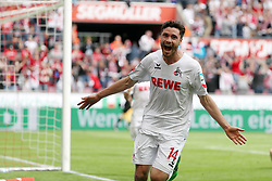 COLOGNE, May 21, 2017  Jonas Hector of 1. FC Koeln celebrates after scoring during the Bundesliga match between 1. FC Koeln and FSV Mainz 05 in Cologne, Germany, May 20, 2017. Koeln won 2-0. (Credit Image: © Ulrich Hufnagel/Xinhua via ZUMA Wire)