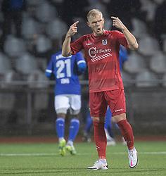 Philip Rejnhold (FC Helsingør) skælder ud efter målet til 2-0 under kampen i 1. Division mellem Fremad Amager og FC Helsingør den 21. oktober 2020 i Sundby Idrætspark (Foto: Claus Birch).