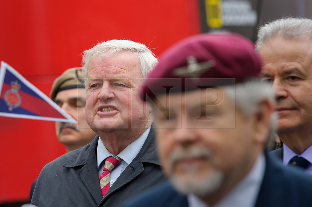 © Licensed to London News Pictures. <br /> 14/4/2017. London, Great Britain. <br /> Col Bob Stewart MP, Cheshire Regiment during the Justice for Northern Ireland Veterans March in central London.<br /> They are protesting the prosecution of former Service men and women who served in Northern Ireland during the Troubles.<br /> Photo credit: Anthony Upton/LNP