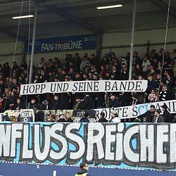Spruchband in Sandhausen  beim Spiel in der 2. Bundesliga, SV Sandhausen - FC St. Pauli.<br /> <br /> Foto © PIX-Sportfotos *** Foto ist honorarpflichtig! *** Auf Anfrage in hoeherer Qualitaet/Aufloesung. Belegexemplar erbeten. Veroeffentlichung ausschliesslich fuer journalistisch-publizistische Zwecke. For editorial use only. For editorial use only. DFL regulations prohibit any use of photographs as image sequences and/or quasi-video.
