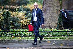 © Licensed to London News Pictures. 14/11/2017. London, UK. Secretary of State for Communities and Local Government Sajid Javid arrives on Downing Street for the weekly Cabinet meeting. Photo credit: Rob Pinney/LNP