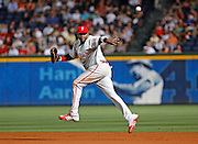 Phillies first baseman Ryan Howard flips the ball to first base during the game between the Atlanta Braves and the Philadelphia Phillies at Turner Field in Atlanta, GA on May 25, 2007..
