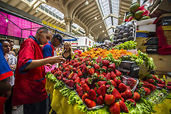 December 11, 2016 - Sao Paulo, Sao Paulo, Brazil - Strawberries at the Municipal Market (Mercadao), in Sao Paulo, Brazil on 11 December 2016. In addition to the items of vegetables, butcher, fishmonger and emporium (national and imported) gathered in a single space, also has restaurants and snack bars that offer chips with the city's face. (Credit Image: © Cris Faga/NurPhoto via ZUMA Press)