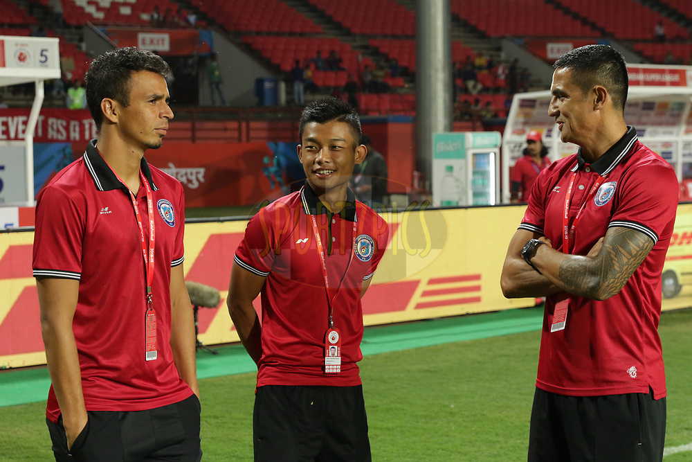 Players in a good mood after arriving the stadium during match 25 of the Hero Indian Super League 2018 ( ISL ) between Jamshedpur FC and FC Goa held at JRD Tata Sports Complex, Jamshedpur, India on the 1st November  2018<br /> <br /> Photo by Saikat Das /SPORTZPICS for ISL