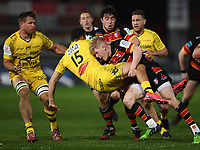 Rugby Union - 2020 / 2021 European Rugby Heineken Champions Cup - Round of 16 - Gloucester vs La Rochelle - Kingsholm<br /> <br /> La Rochelle's Dillyn Leyds is tackled by Gloucester's George Barton.<br /> <br /> COLORSPORT/ASHLEY WESTERN