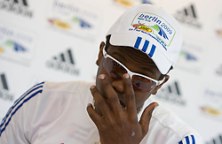Athlete Dayron Robles of Cuba speaks to press during an Adidas Press conference at the Radisson Hotel during day three of the 12th IAAF World Athletics Championships at the Olympic Stadium on August 17, 2009 in Berlin, Germany. (Photo by Vid Ponikvar / Sportida)