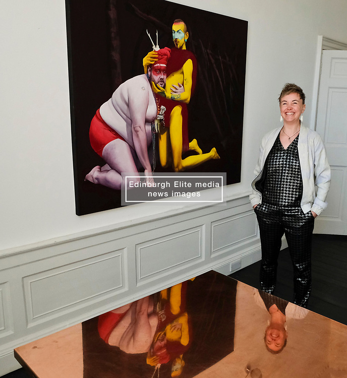 Pictured: Kirsty Whiton<br /> <br /> Artist Kirsty Whiten opened her new solo exhibition, Icon Oracle, today at the Arusha Gallery on Dundas Street, Edinburgh<br /> <br /> Ger Harley | EEm 8 June 2018