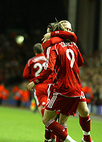 Photo: Paul Greenwood/Sportsbeat Images.<br />Liverpool v Porto. UEFA Champions League. 28/11/2007.<br />Liverpool's Andriy Voronin, Fernando Torres celebrate