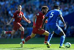Mohamed Salah of Liverpool chases down Bruno Ecuele Manga of Cardiff City- Mandatory by-line: Nizaam Jones/JMP - 21/04/2019 -  FOOTBALL - Cardiff City Stadium - Cardiff, Wales -  Cardiff City v Liverpool - Premier League