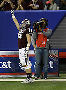ATLANTA, GA - DECEMBER 31:  Wide receiver Travis Labhart #15 of the Texas A&M Aggies celebrates after a touchdown during the Chick-fil-A Bowl game against the Duke Blue Devils at the Georgia Dome on December 31, 2013 in Atlanta, Georgia.  (Photo by Mike Zarrilli/Getty Images)