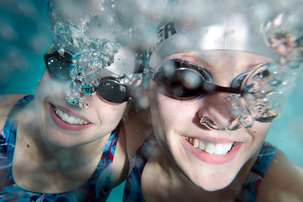 Amy, left and Carly Wahlmeier, twin sisters age 15, were elected to the Midwestern Swimming board of directors for Nebraska and Iowa. (Independent/Matt Dixon)