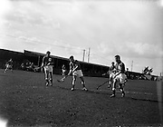09/04/1960<br /> 04/09/1960<br /> 09 April 1960<br /> Hockey: Ireland v Wales Schoolboys Hockey International at Londonbridge Road, Sandymount, Dublin. Picture shows P. Bewley (centre) (Newtown, Waterford) hitting the ball toward the Welsh goalmouth.