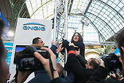 Sam Castro speaks about Energie in Australia. Activists stage a 'toxic tour' where they try to highlight various companies detrimental affects on the environment and local communities in spite of their green credentials at the Solutions 21 in the Grand Palais COP21 in Paris.