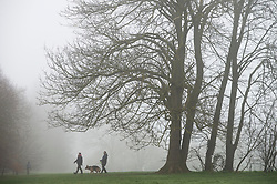 © Licensed to London News Pictures 28/02/2021.        Sidcup, UK. A cold foggy start to the day for dog walkers. As people get out of the house for some exercise at Footscray Meadows in Sidcup, South East London. Photo credit:Grant Falvey/LNP
