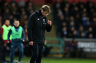 Jurgen Klopp, the manager of Liverpool reacts on the touchline. Premier league match, Swansea city v Liverpool at the Liberty Stadium in Swansea, South Wales on Monday 22nd January 2018. <br /> pic by  Andrew Orchard, Andrew Orchard sports photography.