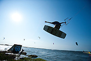 Outerbanks, NC - Evan Netsch kiteboarding at the Triple-S 2011