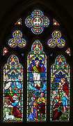 Stained glass window church of Saint Mary, Hemington, Somerset, England, UK