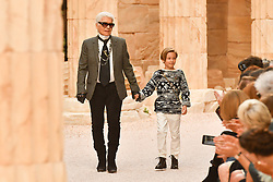 Designer Karl Lagerfeld and nephew Hudson Kroenig walk the runway during Chanel Cruise 2017/2018 Collection at Grand Palais on May 3, 2017 in Paris, France. Photo by Laurent Zabulon/ABACAPRESS.COM