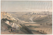 Jerusalem from the Mount of Olives 1839 Color lithograph by David Roberts (1796-1864). An engraving reprint by Louis Haghe was published in a the book 'The Holy Land, Syria, Idumea, Arabia, Egypt and Nubia. in 1855 by D. Appleton & Co., 346 & 348 Broadway in New York.