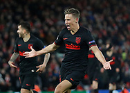 Marcos Llorent of Atletico Madrid celebrates scoring a second goal in extra time  during the UEFA Champions League match at Anfield, Liverpool. Picture date: 11th March 2020. Picture credit should read: Darren Staples/Sportimage
