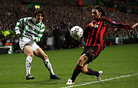 Photo: Paul Thomas.<br /> Glasgow Celtic v AC Milan. UEFA Champions League. Last 16, 1st Leg. 20/02/2007.<br /> <br /> Shunsuke Nakamura (L) of Celtic crosses.