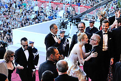 Elle Fanning and Thierry Fremaux arriving at Les Fantomes d'Ismael screening and opening ceremony held at the Palais Des Festivals in Cannes, France on May 17, 2017, as part of the 70th Cannes Film Festival. Photo by Aurore Marechal/ABACAPRESS.COM