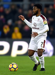 """Burnley's Georges-Kevin N'Koudou during the Premier League match at Selhurst Park, London. PRESS ASSOCIATION Photo. Picture date: Saturday January 13, 2018. See PA story SOCCER Palace. Photo credit should read: Daniel Hambury/PA Wire. RESTRICTIONS: EDITORIAL USE ONLY No use with unauthorised audio, video, data, fixture lists, club/league logos or """"live"""" services. Online in-match use limited to 75 images, no video emulation. No use in betting, games or single club/league/player publications"""