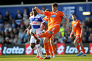 Blackpool's Gary MacKenzie  in action.  Skybet football league championship match , Queens Park Rangers v Blackpool at Loftus Road in London  on Saturday 29th March 2014.<br /> pic by John Fletcher, Andrew Orchard sports photography.