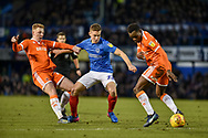 Portsmouth Midfielder, David Wheeler (22) battles for possession during the EFL Sky Bet League 1 match between Portsmouth and Blackpool at Fratton Park, Portsmouth, England on 12 January 2019.
