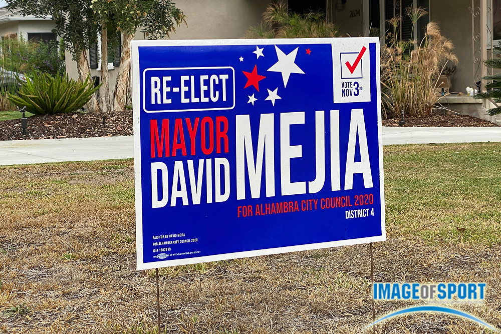 A sign endorsing the re-election of David Mejia for Alhambra City Council mayor, Saturday, Sept. 26, 2020, in Alhambra, Calif.