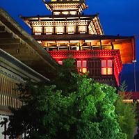 Asia, Bhutan, Thimpu. Tashichhoedzong by night.