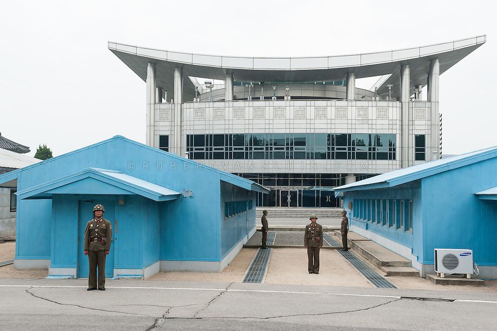 North Korean Guards at the border with South Korea, Panmunjom, DPRK (North Korea)