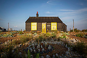 Prospect Cottage on a beautiful sunny mid summer morning, made famous by film maker Derek Jarman who found inspiration at Dungeness, where he created a shingle garden made from debris he found on nearby beaches on the 13th of August 2020 in Dungeness, Kent, United Kingdom.