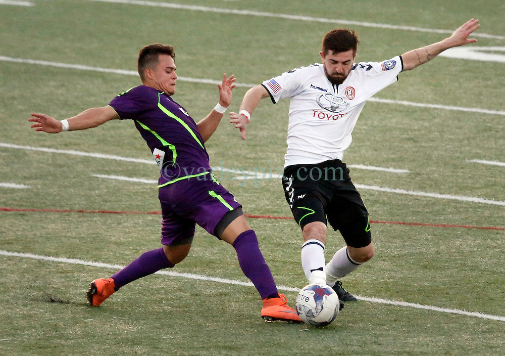 16 June 2016. New Orleans, Louisiana.<br /> NPSL Soccer, Pan American Stadium.<br /> New Orleans Jesters v Memphis City FC. Jesters lose 1-2, down to 10 men after a 12th minute red card.<br /> Photo; Charlie Varley/varleypix.com