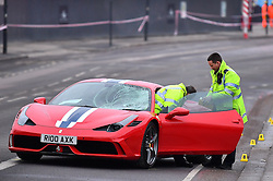© Licensed to London News Pictures. 12/12/2016. London, UK. The scene where six people  have been rushed to hospital after a Ferrari sports car ploughed in to a group of pedestrians in Battersea, South London. Photo credit: Ben Cawthra/LNP