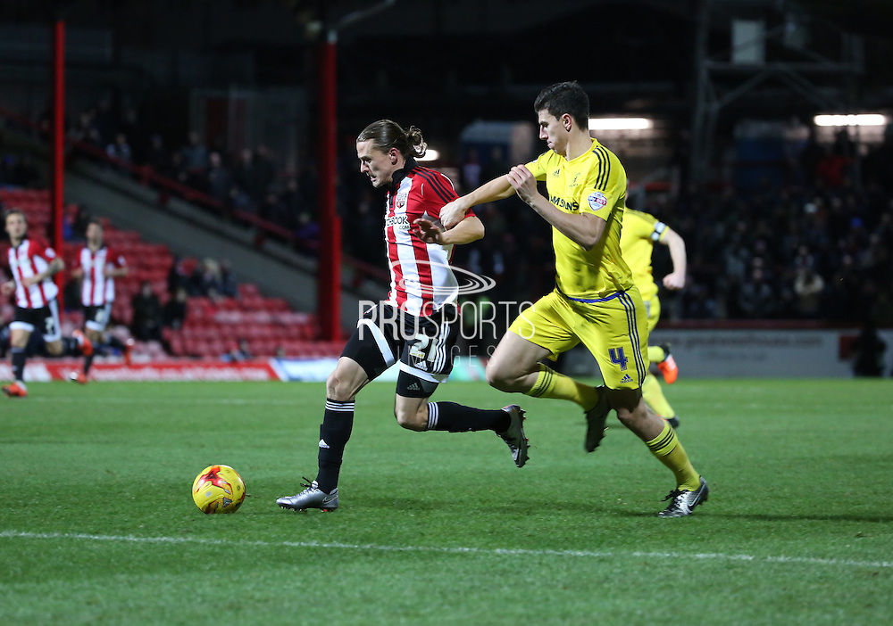 Brentford striker Lasse Vibe bursting into the box during the Sky Bet Championship match between Brentford and Middlesbrough at Griffin Park, London, England on 12 January 2016. Photo by Matthew Redman.
