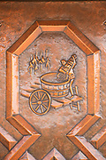 Copper plaque showing the process of wine making, in Wiltingen, Germany.