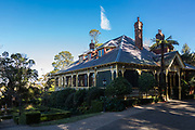 The Blue Mountains, NSW, Australia. Saturday 8th August 2020. Darley's Restaurant and immaculate gardens, The Blue Mountains, NSW. Darley's Restaurant is Lilianfels Resort fine dining Blue Mountains Restaurant. Its a heritage listed building surrounded by beautifuly kept gardens.